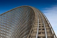 Wooden roller coaster track