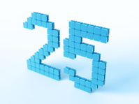 Blue Digital Number Twentyfive