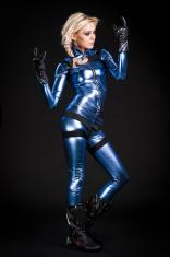 beauty moto girl in latex suit