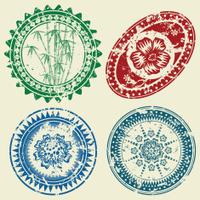 Grunge postcard stamp set
