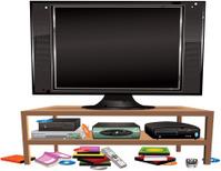 Flatscreen TV and entertainment cabinet