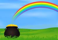 Pot of Gold Under Rainbow