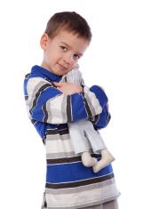 Boy cuddle toy, isolation