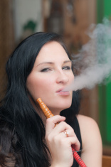 girl smoking a hookah