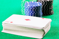 Card deck with chips behind