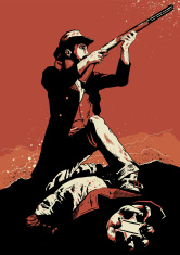 Cowboy in a gunfight scene