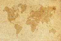 World Map on a old worn paper XXXL