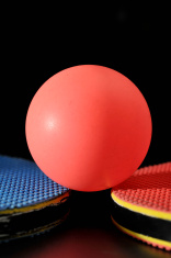 Ping pong ball with table tennis paddle