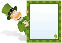 St. Patrick's Day Leprechaun holding sign