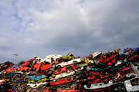 Pile of crushed cars