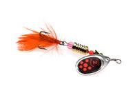 Orange feathered fishing lure