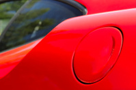 Fuel cap on a red Itlian sports car