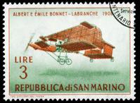 Bonnet-Labranche Biplane Depicted on San Marino Vintage Postage