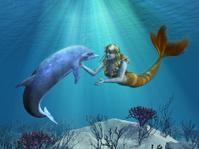 Mermaid with Dolphin Undersea