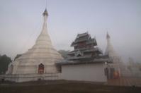 Pagoda in fog
