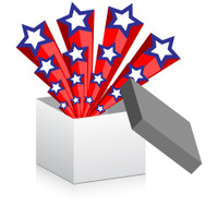 open box with american stars