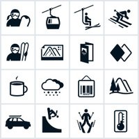 Black Ski and Snowboard Icons