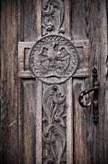 Church door with cross