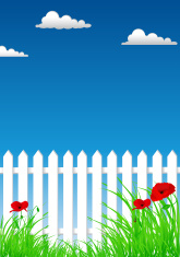 White Picket Fence And Poppies On The Sky Background