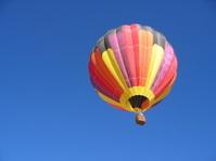 Hot air balloon ascends over Albuquerque, New Mexico