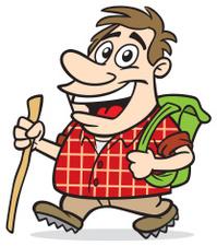 Cartoon Guy Hiking