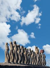 Blue sky over Moais at Ahu Tongariki Easter Island Chile