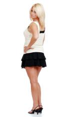 mature blond woman in mini skirt