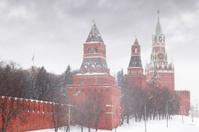 Kremlin chiming clock of the Spasskaya Tower at wintertime