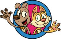Cartoon cat and dog.