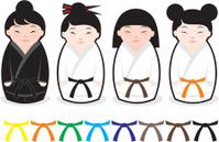 Japanese karate kokeshi dolls