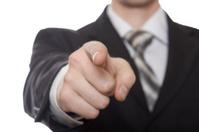 index finger of businessman hand