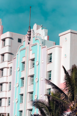 Deco building on shoreline in Durban, South Africa.