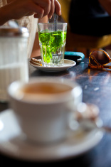 Fresh mint tea and coffee