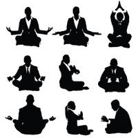 Businessmen and businesswomen meditating