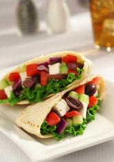 Chopped Greek Salad in Pita