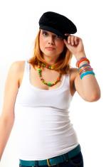 Beautiful young girl wearing cap