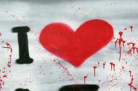 Red Graffiti heart I love you