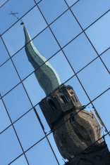 Church tower reflection 2