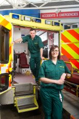 ambulance crew at accident and emergency