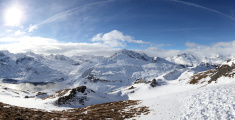 panorama of alpine winter landscape