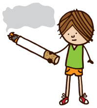 Boy with cigarette and smoke speech bubble