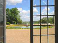 View on the garden through large window