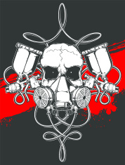skull in respirator with spray gun