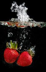 Strawberries in water