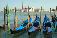 Gondolas Parked in Venice, Italy