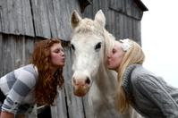Teen Girls Kissing Horse