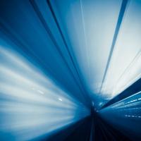 Riding through a metro tunnel in Paris, France