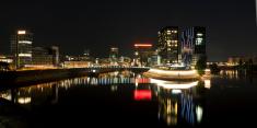 Dusseldorf Medienhafen night panorama