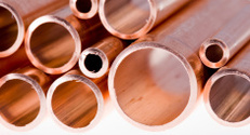 Copper pipes of different diameter