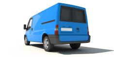 Rear view of blue van